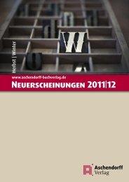 Neuerscheinungen 2011|12 - Aschendorff Verlag