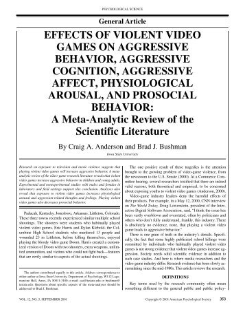 lit review on gamings affect on aggression In 2001 the home office published a review of literature that increases arousal and the possibility of aggression in effects of violent video games on.