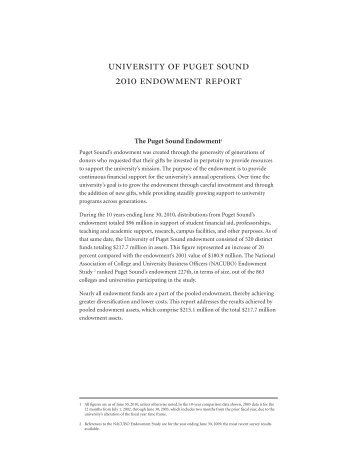 university of puget sound 2010 endowment report