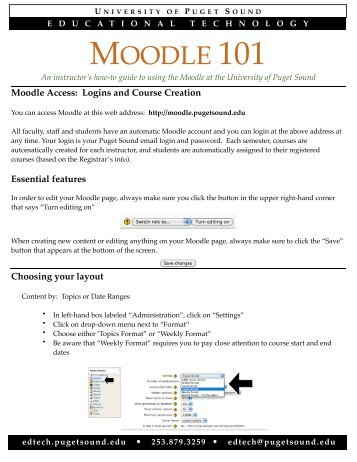 How to get started with Moodle - University of Puget Sound