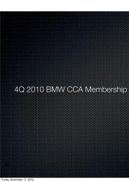 BMW CCA Q4 2010 Membership Survey Results