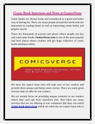 Online Comic Books and Comic Book Reviews at ComicsVerse com