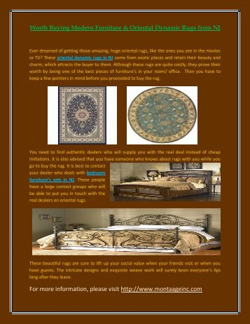 Worth Buying Modern Furniture & Oriental Dynamic Rugs from NJ
