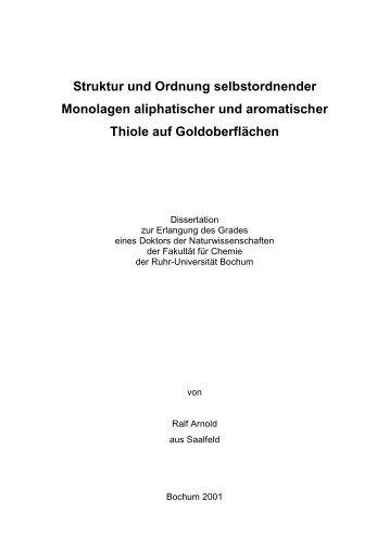 Struktur und Ordnung selbstordnender Monolagen aliphatischer und ...