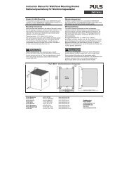 Instruction Manual for Wall/Panel Mounting Bracket ... - PULS GmbH