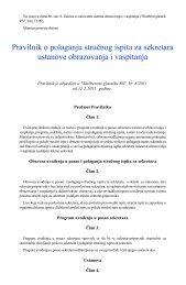 Pravilnik o polaganju stručnog ispita za sekretara ustanove ...