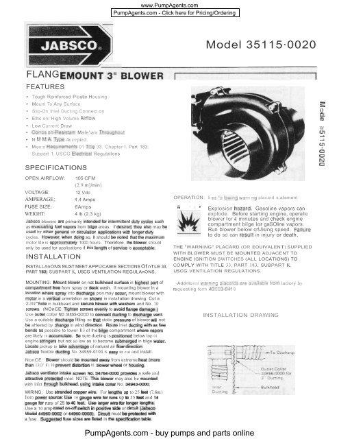 Jabsco Pumps 35115-0020 Pump - PumpAgents com