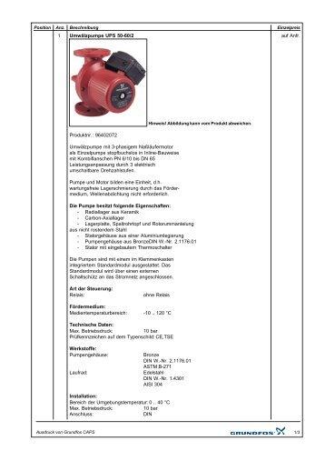 1 auf Anfr. Umwälzpumpe UPS 50-60/2 Produktnr ... - Pumpenscout.de