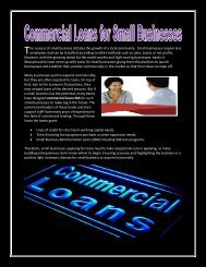 Commercial Loans for Small Businesses.