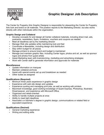 Marin Theatre Company Job Description Graphic Designer