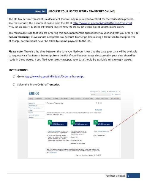 Get transcript tax return
