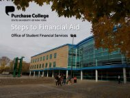 Steps to Financial Aid - Purchase College