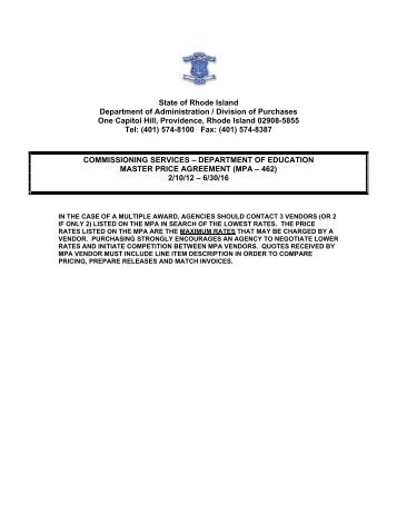 Notice Of Blanket Purchase Agreement   State Of Rhode Island .