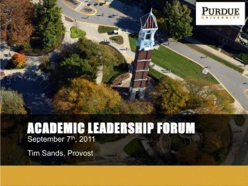 Provost Priorities and Decadal Funding Plan - Purdue University