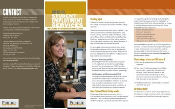 Student Employment Brochure - Purdue University