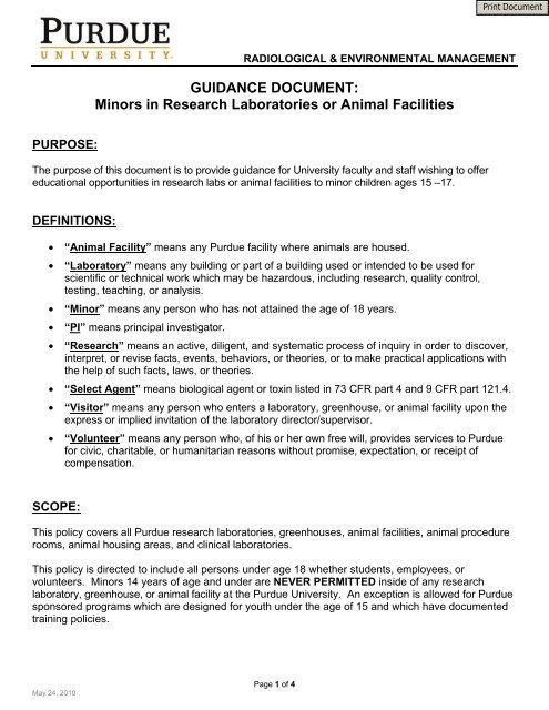 Minors in Research Laboratories or Animal     - Purdue