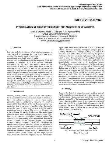 Investigation of Fiber Optic Sensor for Monitoring of Ammonia