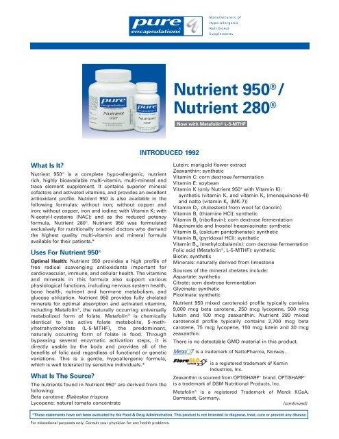 Nutrient 950® with NAC - Pure Encapsulations
