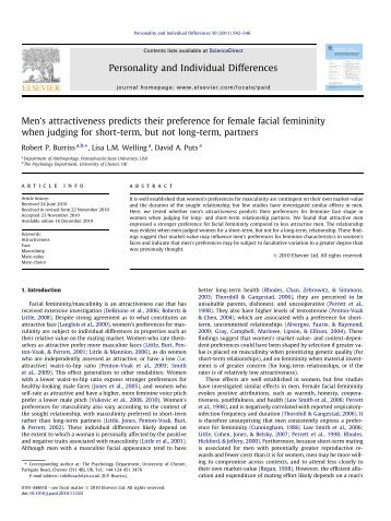 Personality and Individual Differences - Puts Lab