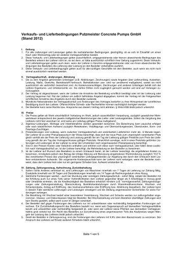 Verkaufs- und Lieferbedingungen Putzmeister Concrete Pumps GmbH