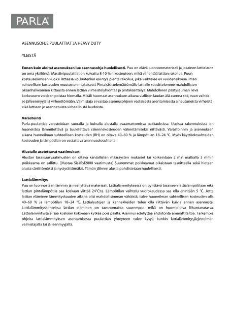 Puulattian asennusohjeet - Puuinfo