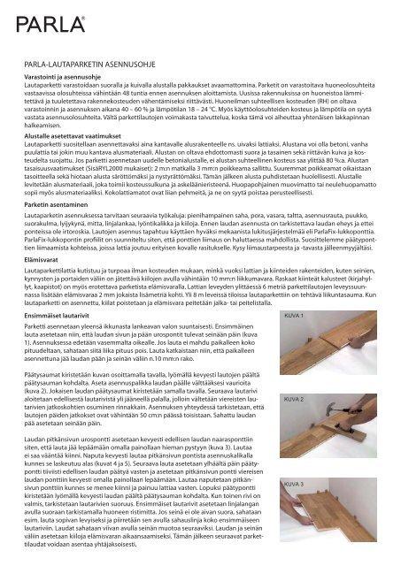 Parla-lautaparketin asennusohje (pdf) - Puuinfo