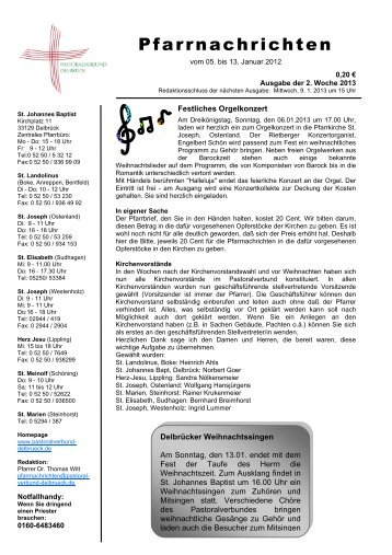 Sonntag, 06.01.2013 - Pastoralverbund Boke-Ostenland
