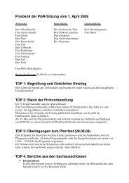 Protokoll der PGR-Sitzung vom 1. April 2009 TOP 1: Begrüßung und ...