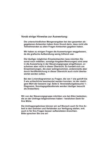 Vorab einige Hinweise zur Auswertung: - Pastoralverbund Herne-Nord