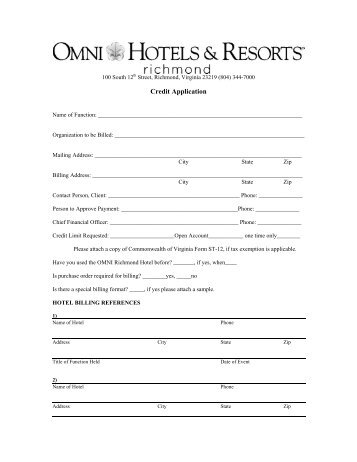 Credit Application Agreement Purchase Order Acceptance Hotel