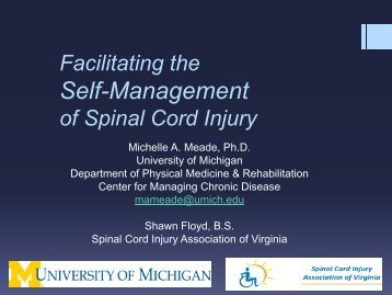 Facilitating the Self- Management of SCI