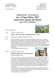 zur 4-Tages-Reise 2013 nach Trier und an die Mosel - PV ETH