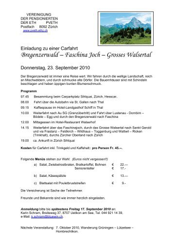 Bregenzerwald – Faschina Joch – Grosses Walsertal - PV ETH