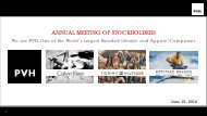 Annual meeting of stockholders - Phillips-Van Heusen