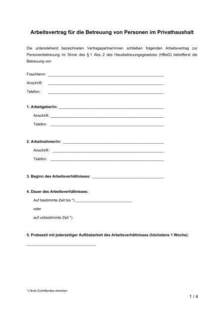 Muster Arbeitsvertrag Fã¼r Unselbstãndige Angestellte Vorarlberg