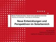 Neue Entwicklungen und Perspektiven im Solarbereich - Photovoltaik