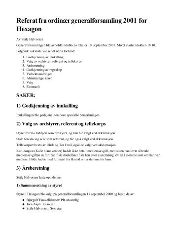 Referat fra ordinær generalforsamling 2001 for ... - PVV - NTNU
