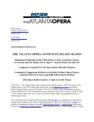 THE ATLANTA OPERA ANNOUNCES 2012-2013 SEASON