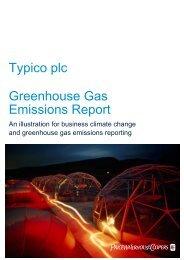 Typico plc Greenhouse Gas Emissions Report – 2009 - PwC