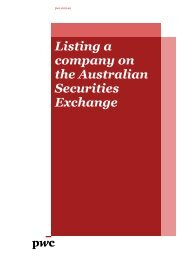 Listing a company on the Australian Securities Exchange - PwC