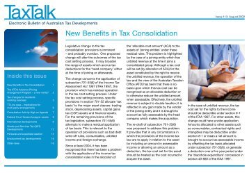 New Benefits in Tax Consolidation - PricewaterhouseCoopers