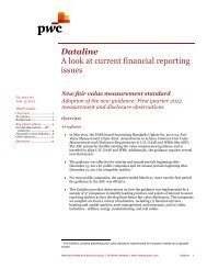 Dataline A look at current financial reporting issues - PwC