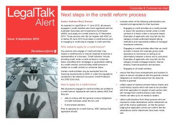Next steps in the credit reform process - PwC