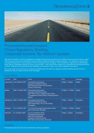 PricewaterhouseCoopers China Regulatory Briefing: Corporate ...