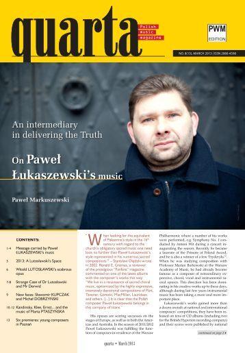 On Paweł Łukaszewski's music