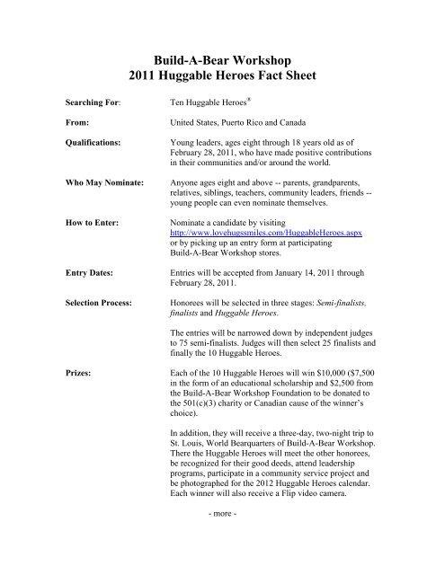 Huggable Heroes Fact Sheet - PWR New Media