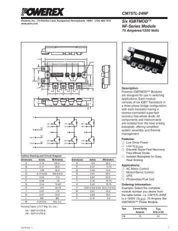 Six IGBTMOD™ NF-Series Module CM75TL-24NF - Powerex