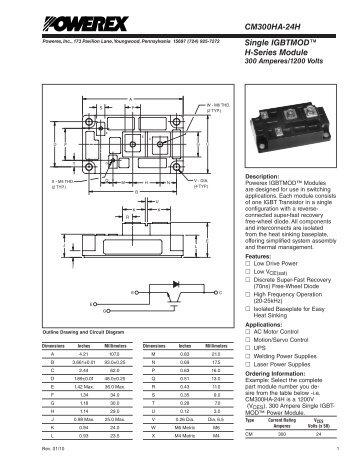 Single IGBTMOD™ H-Series Module CM300HA-24H - Powerex