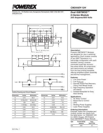 Dual IGBTMOD™ H-Series Module CM200DY-12H