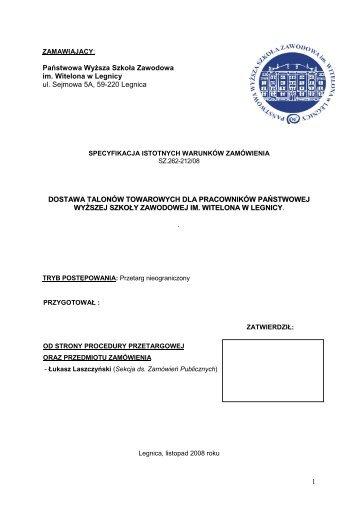 1 Państwowa WyŜsza Szkoła Zawodowa im. Witelona w Legnicy ul ...